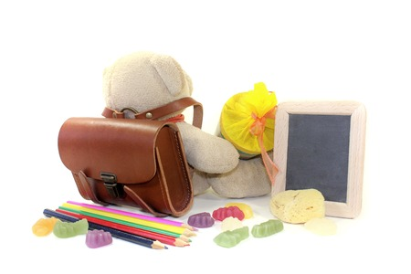 Teddy bear with school bag, wallet, pens and board on a light background photo