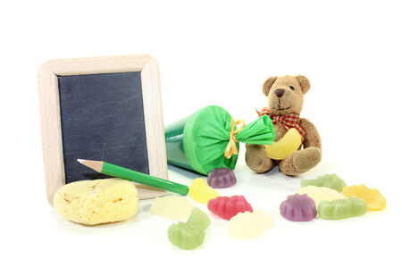 Teddy bear with school bag, wallet, pen and blackboard on a light background photo