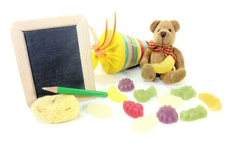 Teddy bear with school bag, wallet, sponge and blackboard on a light background photo