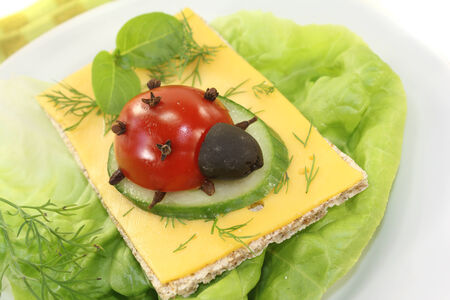 god's cow: Crispbread with cheese, basil and ladybug on a light background