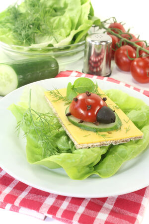 god's cow: Crispbread with cheese, lettuce and ladybug on a light background Stock Photo