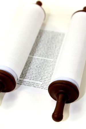 white Torah scroll on a light background Stock Photo