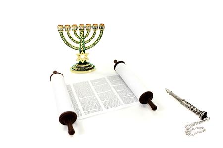 jewish star: Torah scroll with menorah and pointer on light background