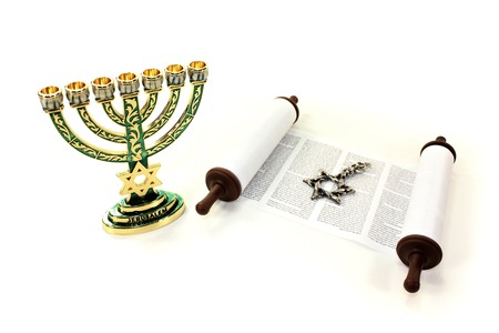tora: Torah scroll with menorah and Star of David on a light background Stock Photo