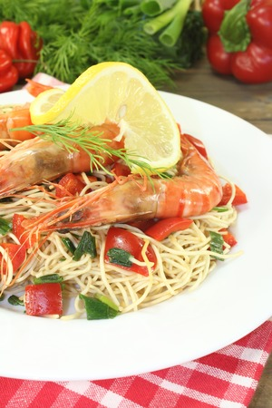 mie noodles: Prawns with Mie noodles with dill and lemon