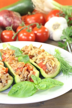 ground beef: delicious fresh stuffed zucchini with ground beef and cheese