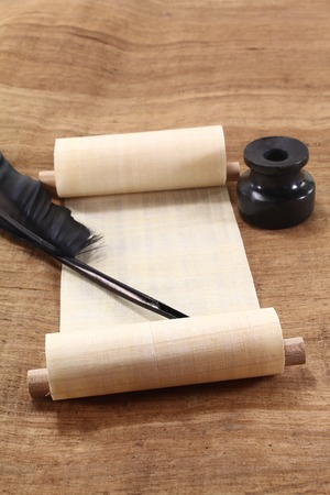 scroll: Papyrus scroll with quill pen and inkwell