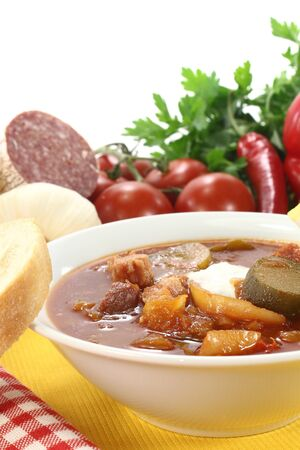 soljanka: Soljanka in a soup bowl with salami on a light background Stock Photo