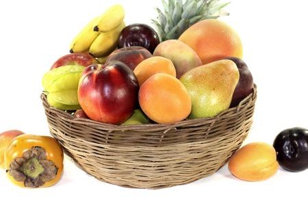 fruit basket: Fruit basket with various colorful fruits on a light background
