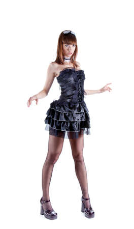 Full length shot of sexy woman dressed as French maid, isolated on white background  photo