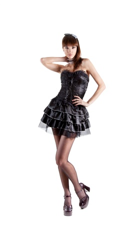 Full length shot of sexy French maid, isolated on white background  photo