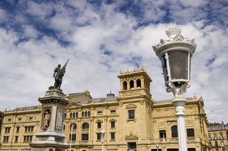 victoria eugenia theatre and oquendo statue in san sebastian