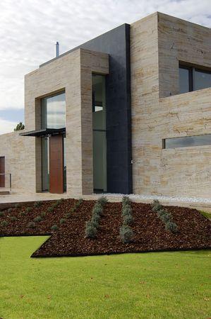 house garden with pine Bark