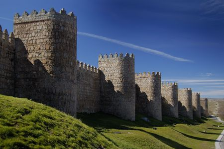 defensive: Avila, in spain, wall and defensive towers