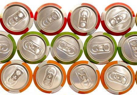 cola canette: bidons en aluminium de boissons de couleur empil�s