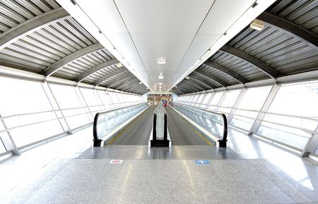 futurist: Tunnel in airport with mechanical passage