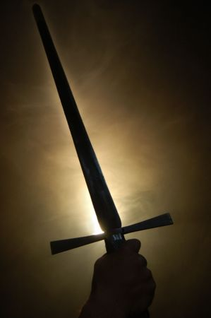 Medieval spanish sword silhouette at backlighting