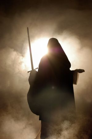 coran: Arabian woman appearance with a sword in hand. Stock Photo
