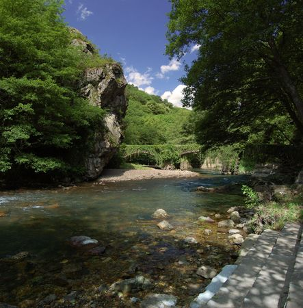 Leiza river with trees and vegetation. Leizaran Valley, Navarra and Gipuzkoa, Spain Stock Photo