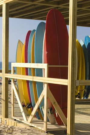 Surfboards rent and store in the beach