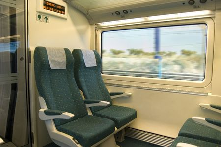 Seats of the wagon in a train