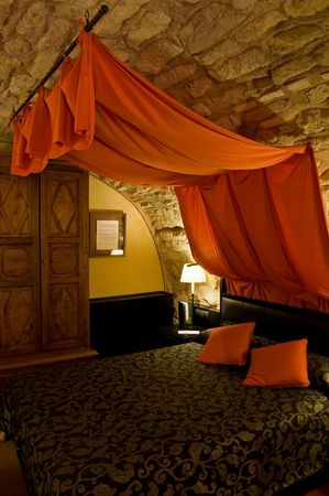 canopy: Bed with Canopy in a Bedroom. European Castle