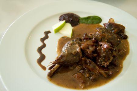 Pheasant in sauce. Spanish style.