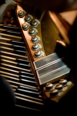 fuga: Classic organ. Keys and pedal to changing tone or instrument