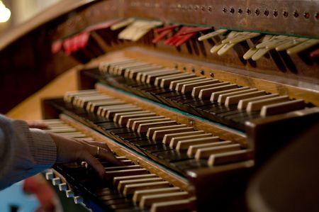 chóralne: Classic organowej klawiatury i klucze do zmieniających instrumentu Zdjęcie Seryjne