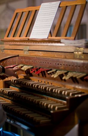 choral: Classic organ keyboard and keys to changing instrument