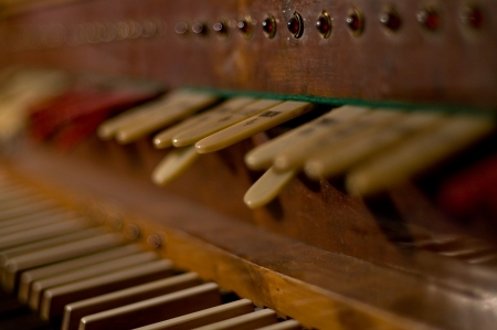 organ: Classic organ keyboard and keys to changing instrument