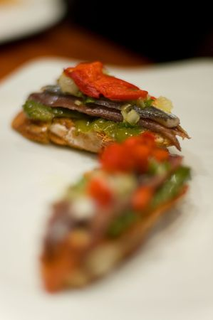 Typical tapa of anchovy. Spain Stock Photo