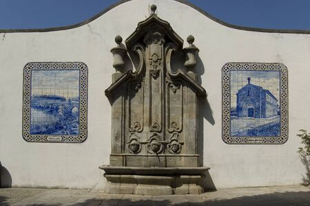 conde: Typical fountain tiled in Vila do Conde, Portugal Stock Photo