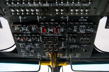 Helicopter instrument and control panel photo