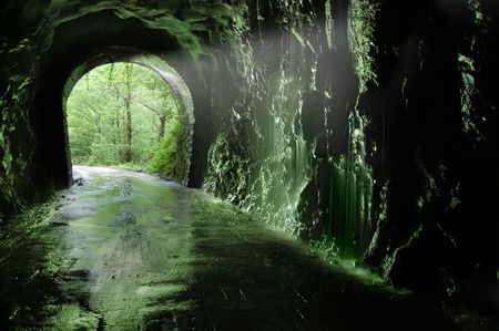 Old tunnel of the Plazaola�s  train. Leitzaran Valley, Navarra. Spain