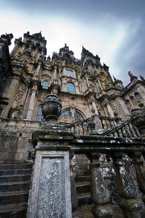 Western Facade is the most popular view of Cathedral of Santiago de Compostela Obradoiro Facade. Unesco World Heritage site. Spain