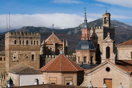 Royal Monastery of Santa Maria de Guadalupe. Caceres, Spain. UNESCO World Heritage Site. Towers Detail.