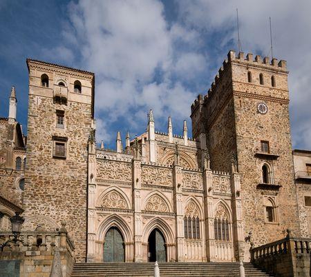 Royal Monastery of Santa Maria de Guadalupe. Caceres, Spain. UNESCO World Heritage Site. Principal Facade. Stock Photo