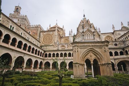 cloister: Royal Monastery of Santa Maria de Guadalupe. Caceres, Spain. UNESCO World Heritage Site. Cloister View