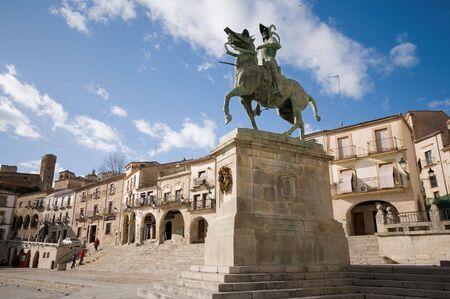 Statue of Francisco Pizarro (Spanish explorer and conqueror of Peru) in Mayor Square of Trujillo. Caceres, Spain.