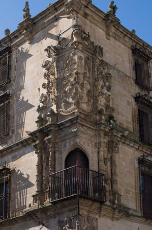 conquest: Conquest Palace in Mayor Square of Trujillo. Caceres, Spain. Medieval Balcony Detail. Stock Photo