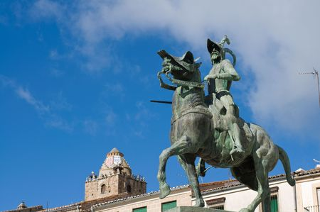 Statue of Francisco Pizarro (Spanish explorer and conqueror of Peru) in Mayor Square of Trujillo. Caceres, Spain.