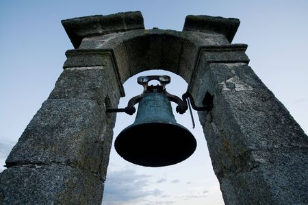 belfry: A Bell on Belfry over Blue Sky at Sunset
