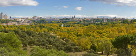 casa: Autumn in Casa de Campo Park, with Madrid�s Skyline at Background. Madrid, Spain