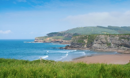 cantabria: Wild Beach of Langre and Mountain Landscape. Langre, in Cantabria on the North of Spain. Stock Photo