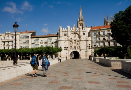 castilla: Pilgrims Crossing the Bridge of Santa Maria in Burgos, Castilla y Leon. Spain