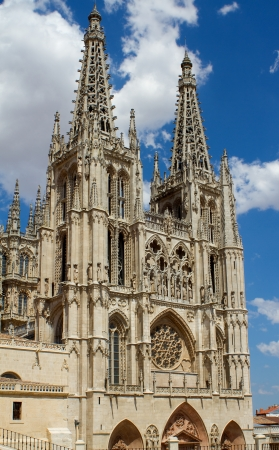 Principal Facade and The West Face of Burgos Gothic Cathedral, Burgos, Castilla y Leon. Spain Stock Photo - 14969128