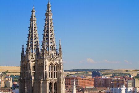 cara leon: Pin�culos g�ticos de las torres de la cara norte de la Catedral de Burgos, Burgos, Castilla y Le�n. Espa�a