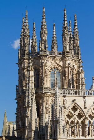 Gothic Pinnacles of The Dome of The East Face of Burgos Cathedral, Burgos, Castilla y Leon. Spain Stock Photo - 14969251