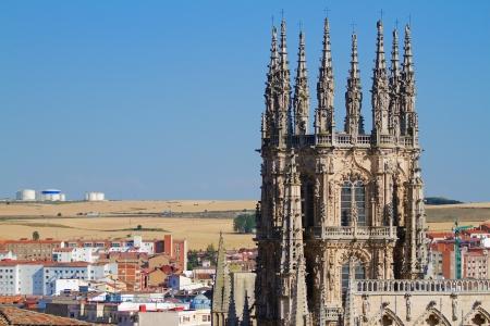 cara leon: Pin�culos g�ticos de la C�pula de la cara este de la Catedral de Burgos, Burgos, Castilla y Le�n. Espa�a